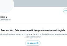 Twitter restringe cuenta Sputnik V