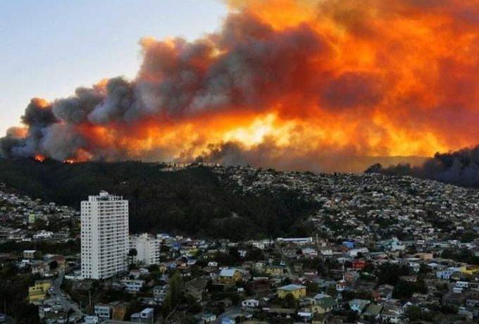 En Chile un incendio foresta