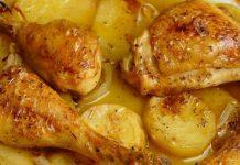 Pollo con papas y cebolla
