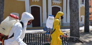 desinfección en el Centro Histórico