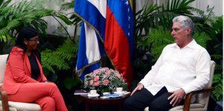 Delcy Rodríguez- La habana- Comisión mixta-Díaz Canel